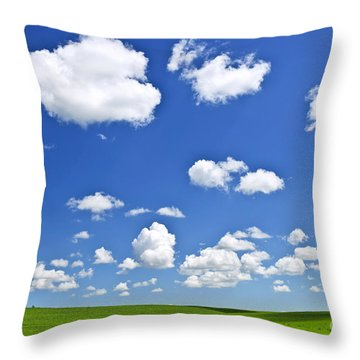 Green Rolling Hills Under Blue Sky Throw Pillow