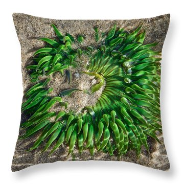 Green Sea Anemone Throw Pillow
