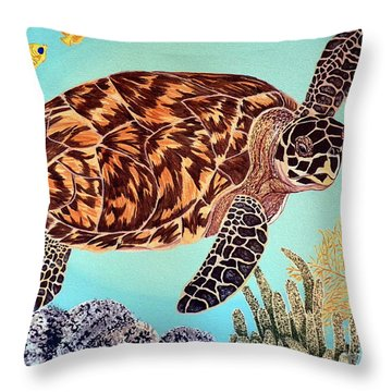 Green Seaturtle 1 Throw Pillow by Nanci Fielder