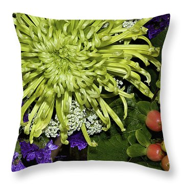 Green Spider Mum Throw Pillow by Phyllis Denton