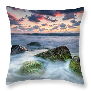 Green Stones Throw Pillow by Evgeni Dinev