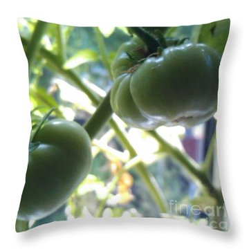 Green #tomatoes #instaprints Throw Pillow by Isabella F Abbie Shores FRSA