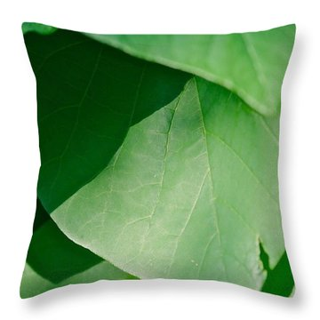 Green Leaves Throw Pillow