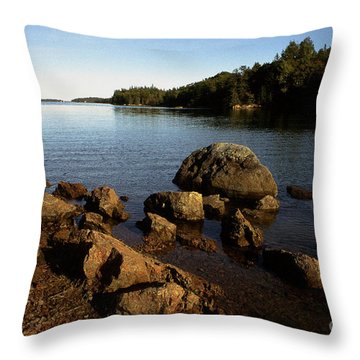 Greenlaw Cove Deer Isle Maine Throw Pillow by Thomas R Fletcher
