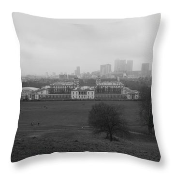 Throw Pillow featuring the photograph Greenwich View by Maj Seda