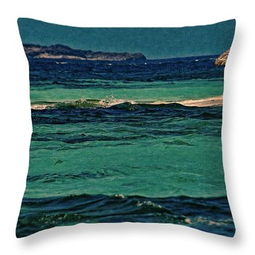 Throw Pillow featuring the photograph Grenadines Umbrella by Don Schwartz