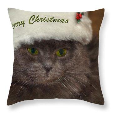 Grey Cat Santa 2 Throw Pillow by Joann Vitali