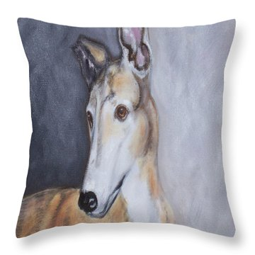 Greyhound In Thought Throw Pillow by George Pedro