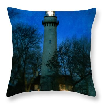 Grosse Point Lighthouse Before Dawn Throw Pillow
