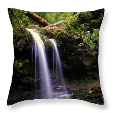 Grotto Falls Throw Pillow by Frozen in Time Fine Art Photography