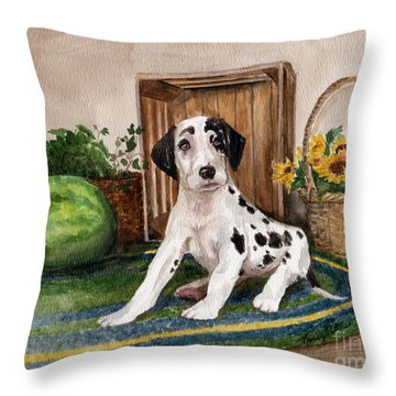 Throw Pillow featuring the painting Growing Fast by Nancy Patterson