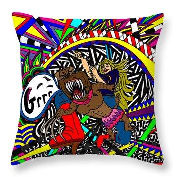 Grrr Throw Pillow by Karen Elzinga