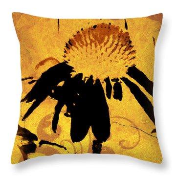 Grunge  Daisy Art Throw Pillow