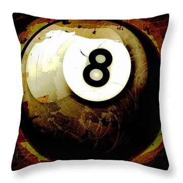 Grunge Style 8 Ball Throw Pillow by David G Paul
