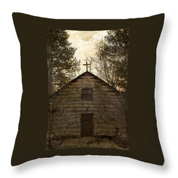 Grungy Hand Hewn Log Chapel Throw Pillow by John Stephens