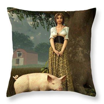 Guard Pig Throw Pillow by Daniel Eskridge