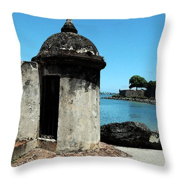 Guard Post Castillo San Felipe Del Morro San Juan Puerto Rico Watercolor Throw Pillow by Shawn O'Brien
