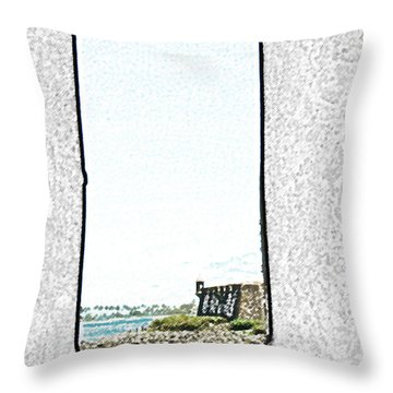 Guard Tower View Castillo San Felipe Del Morro San Juan Puerto Rico Colored Pencil Throw Pillow by Shawn O'Brien