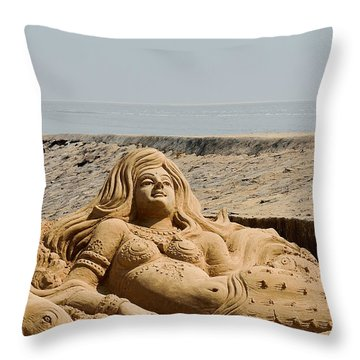 The Little Mermaid By The Sea Throw Pillow by Fotosas Photography