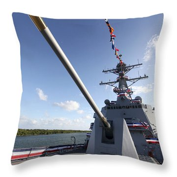 Guided-missile Destroyer Uss Jason Throw Pillow by Stocktrek Images