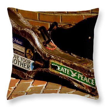 Guitar Case Messages Throw Pillow by Lainie Wrightson