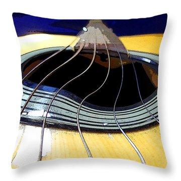 Throw Pillow featuring the digital art Guitar Warp by Anne Mott