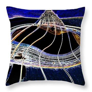 Throw Pillow featuring the digital art Guitar Warp Glowing Edges by Anne Mott