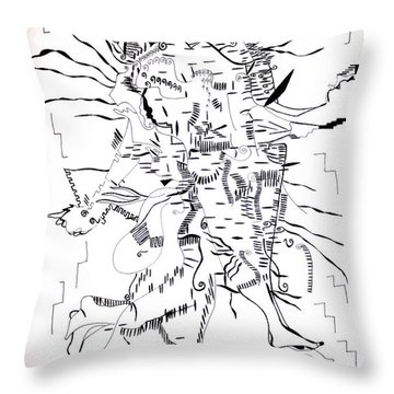 Throw Pillow featuring the drawing Gule Wamkulu - Malawi by Gloria Ssali