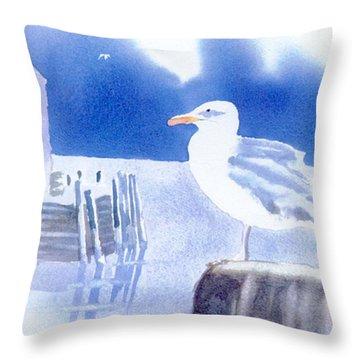 Gull Watch Throw Pillow by Joseph Gallant