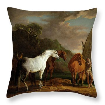 Gulliver Taking His Final Leave Of The Land Of The Houyhnhnms Throw Pillow by Sawrey Gilpin