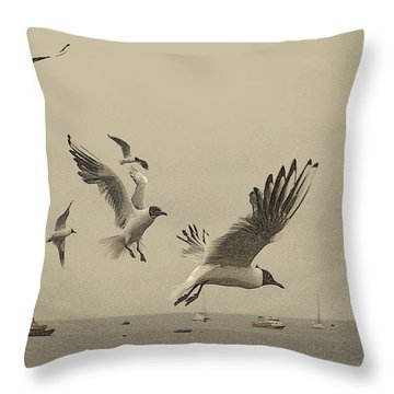 Throw Pillow featuring the photograph Gulls by Linsey Williams