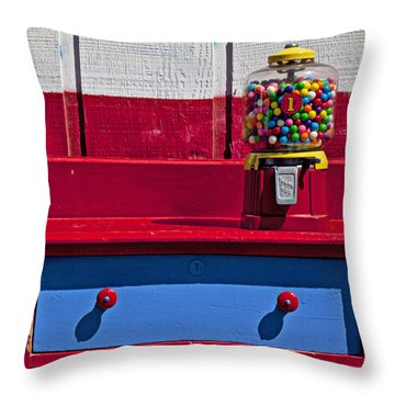Gum Ball Machine On Red Desk Throw Pillow by Garry Gay