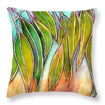 Gum Leaves Throw Pillow by Dion Dior