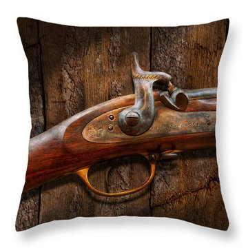 Gun - Musket - London Armory  Throw Pillow by Mike Savad