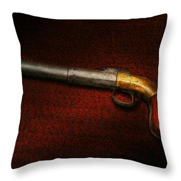 Gun - The Shooting Iron Throw Pillow by Mike Savad