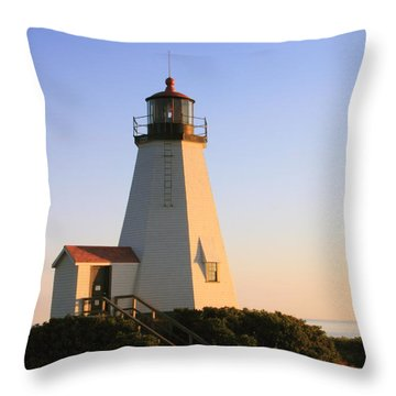 Gurnet Point Lighthouse Throw Pillow by Roupen  Baker