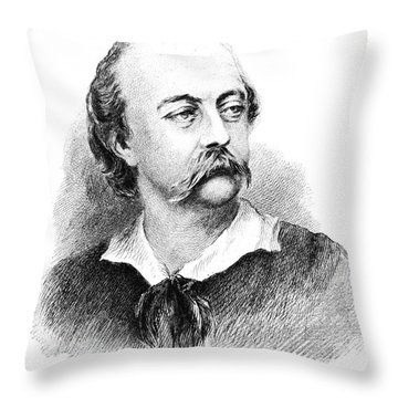 Gustave Flaubert, French Author Throw Pillow by Photo Researchers