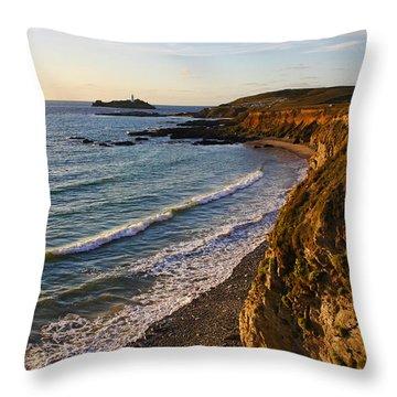 Gwithian Beach Throw Pillow by Ken Brannen