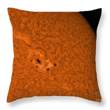 H-alpha Sun In Orange With Active Area Throw Pillow by Rolf Geissinger