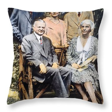 H. Hoover And Family Throw Pillow by Granger