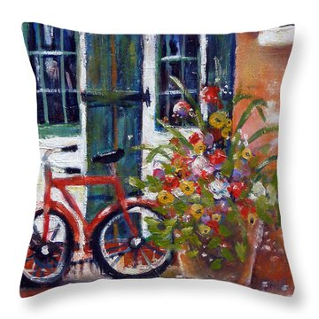 Throw Pillow featuring the painting Habersham Bike Shop by Gertrude Palmer