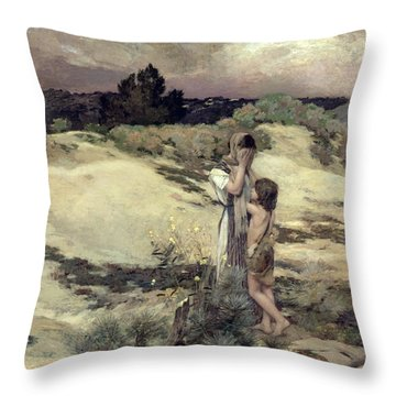Hagar And Ishmael Throw Pillow by Jean-Charles Cazin