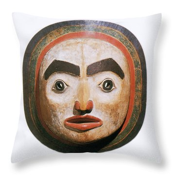 Haida Moon Mask Throw Pillow by Photo Researchers