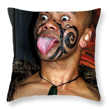 Throw Pillow featuring the photograph Haka Dancer by Laurel Talabere