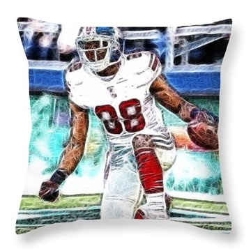 Hakeem Nicks - Sports - Football Throw Pillow by Paul Ward
