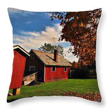 Hale Farm In Autumn Throw Pillow by Joan  Minchak