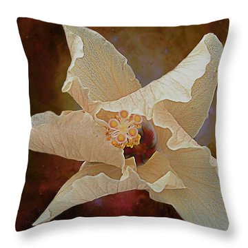Hibiscus Floats In Space Throw Pillow