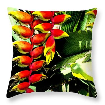 Haliconia Pendant Throw Pillow by Pravine Chester