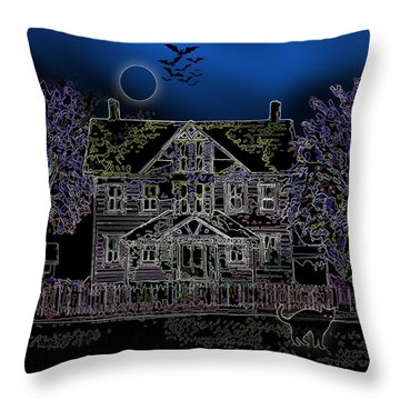 Halloween Haunt Throw Pillow by Clara Sue Beym