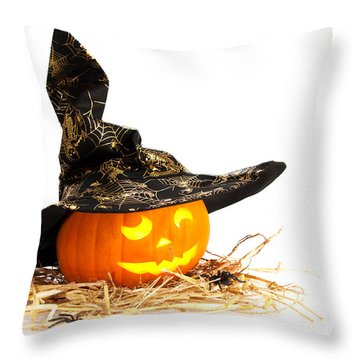 Halloween Pumpkin With Witches Hat Throw Pillow by Amanda Elwell